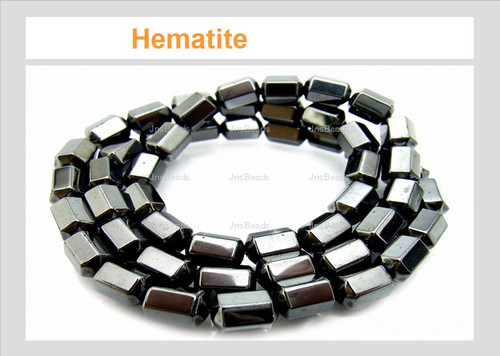 6x8mm Hematite Faceted Beads 15.5""