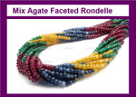 4mm Mix Agate Jade Faceted Rondelle Beads 15.5""