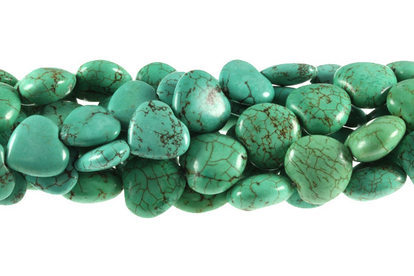 "16mm Green Turquoise Puff Heart Beads 15.5""  [t6g16]"