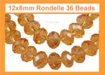 12x8mm Topaz Crystal Faceted Rondelle 36 Beads