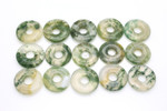 20mm White Green Moss Agate Donut 5pcs.
