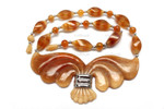 "z4206 35x30mm Amber Horn Necklace 18"" with 925 Silver"