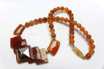 "z4343 35x35mm Amber Horn Necklace 18"" with 925 Silver"