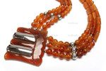 "z4210 35x38mm Amber Horn Necklace 18"" with 925 Silver"