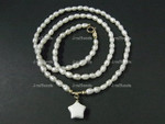 4-5mm Freshwater Pearl Necklace 14K 585 Gold Clasp & Setting