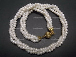 4-5mm 3-Row Freshwater Pearl Necklace 18""