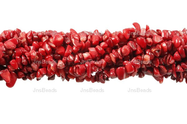 """8-12mm Red Coral Chips 15.5"""""""