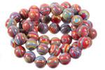 "[06r49x] 6mm Rainbow Lace Malachite Beads 15.5"""