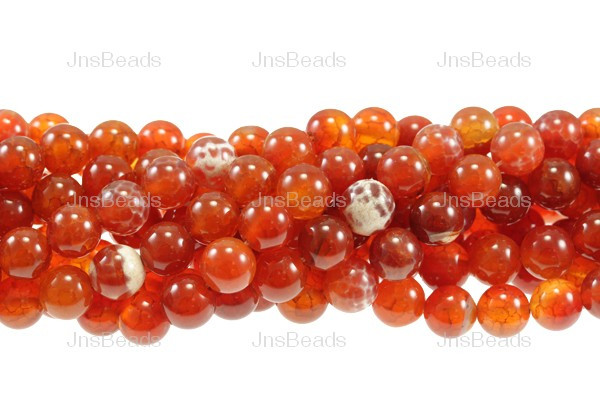 10mm Fire & Ice Red Agate Round Beads 15.5""