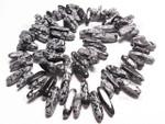 "18-20mm Snowflake Obsidian Briolette Beads 15.5"""