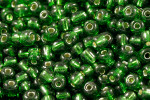 Seed Beads 3mm 8/O 50 Gram (Appx.2000), Silver Lined Emerald Green