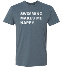 FSA Swimming Makes Me Happy Adult CVC Tee - Indigo