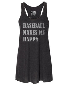 Baseball Makes Me Happy Racerback Tank