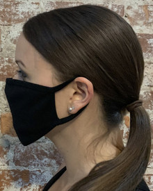 Black Cotton Facemask with Ear Loops