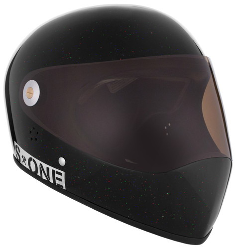 Black Gloss Glitter W/ Tint Visor | S1 Lifer Full Face Helmet Specs: • Specially formulated EPS Fusion Foam • Certified Multi-Impact (ASTM) • Certified High Impact (CPSC) • 5x More Protective Than Regular Skate Helmets • Deep Fit Design