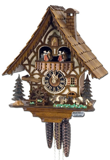 6744T Musical Fighting Goats Chalet 1 Day Cuckoo Clock