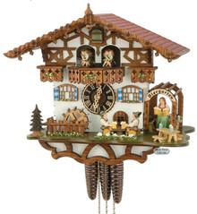 664TZenzi Musical Bavarian Beer Garden Chalet 1 Day Cuckoo Clock