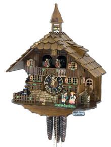 638T Musical Kissing Couple Chalet 1 Day Cuckoo Clock