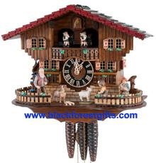 6753T Musical Girl Feeding Goat Chalet 1 Day Cuckoo Clock