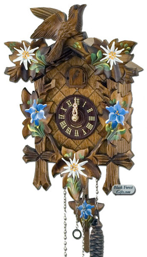 532-10QM-MG Quartz Carved Painted Flowers Musical Cuckoo Clock