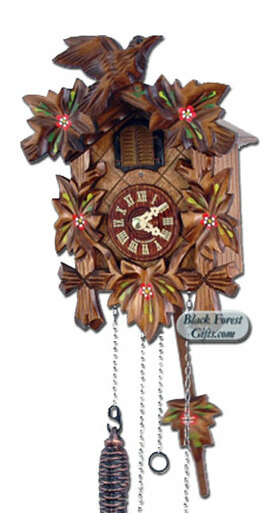 532-6QM-MG Quartz Carved Painted Musical Cuckoo Clock