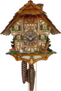 6412-9 1 Day Girl Feeding Geese and Cat Anton Schneider Cuckoo Clock