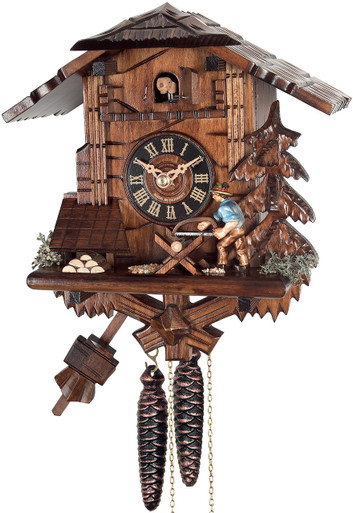 4358 Wood Chopper Chalet 1 Day Cuckoo Clock