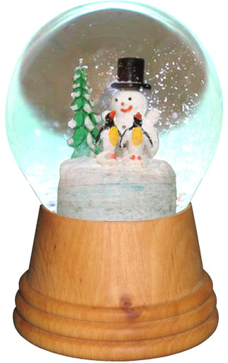 2423 Medium Snowman with Penguin Perzy Snow Globe from Vienna Austria
