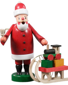 136-081 Santa with Sled Erzgebirge Incense Burner Smoker