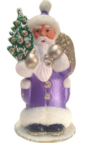 12186 Santa Lavender with Tree Schaller Paper Mache Candy Container