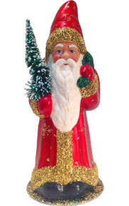 12280 Santa Red Coat with Tree Schaller Paper Mache Candy Container