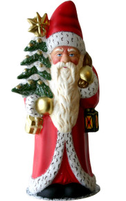 12335 Large Santa with Tree Schaller Paper Mache Candy Container