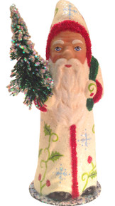 141750 Creme Coat Santa with Tree Schaller Paper Mache Candy Container