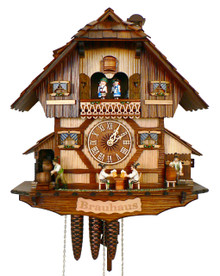 8TMT1383-9 Musical Beer Drinkers and Keg Tapper Chalet 8 Day Cuckoo Clock