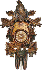 8T1151-9 8 Day Anton Schneider Hunters Theme Carved German Cuckoo Clock