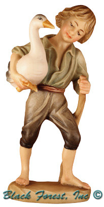 79770-104 Anri 4 Inch Bernardi Hand Painted Shepherd Boy with Goose