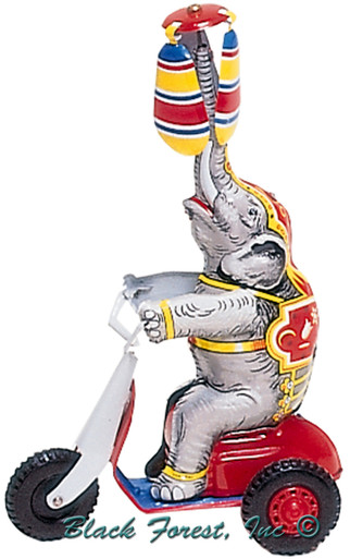 752MR Elephant on Scooter Tin Toy made in Germany