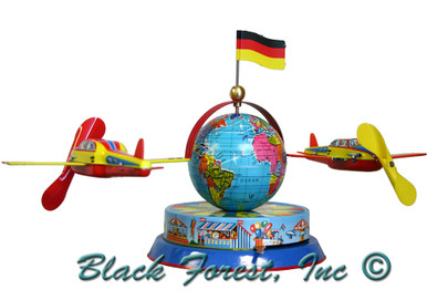 575MR Airplanes Circling Globe Tin Toy made in Germany