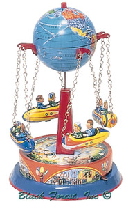 355MR Carousel with Rocket Ships Tin Toy made in Germany