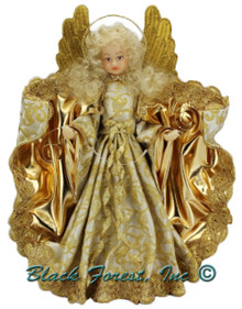 216-II-Gold Tree Topper Wax Angel Holding Banner