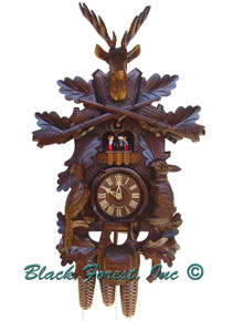 8TMT285-9 8 Day Live Animals Hunters Anton Schneider Cuckoo Clock