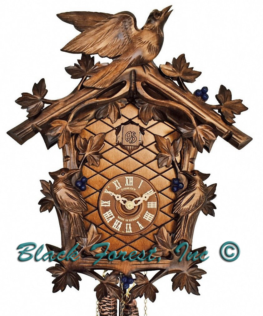 8T337-9 8 Day 3 Bird Anton Schneider Carved German Cuckoo Clock