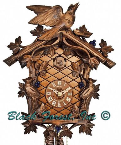 8T337-9 8 Day 3 Bird Anton Schneider Carved German Cuckoo Clock