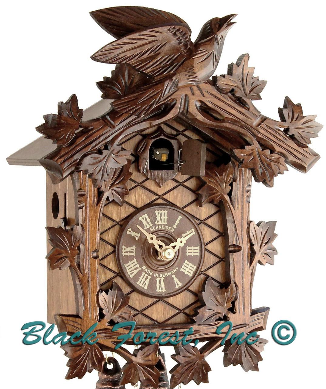 8T 48-9 8 Day 1 Bird Anton Schneider Carved German Cuckoo Clock