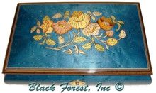 02CF - Navy Blue Floral Inlay Medium Italian Music Box