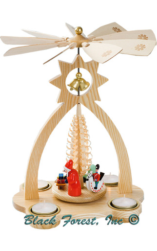 15824 Natural Santa Scene Tea Light Christmas Story Pyramid