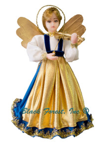 310-III-Blau Tree Topper Wax Angel Playing Violin