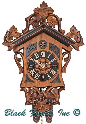 8T 655-7 Anton Schneider 8 Day with Dark Onlays with birds Cuckoo Clock