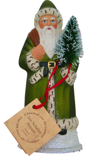 14168 Green Santa with Tree Schaller Paper Mache Candy Container