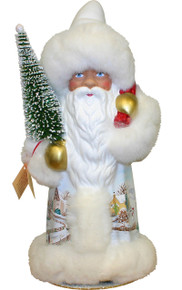 15414 White Santa with Tree Schaller Paper Mache Candy Container